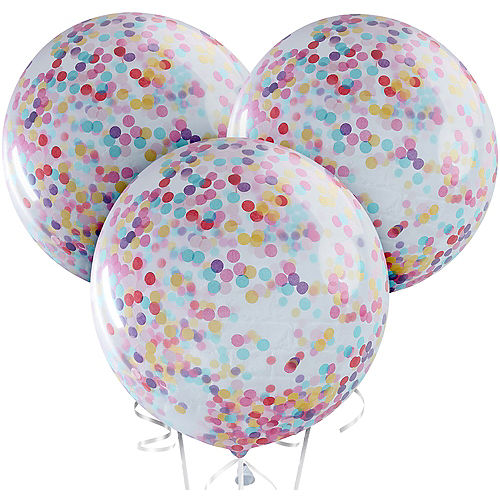 Ginger Ray Giant Multicolor Confetti Balloons 3ct, 36in Image #2