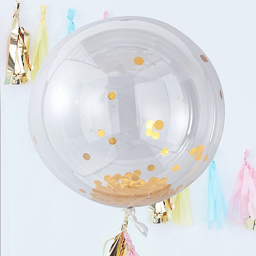 Ginger Ray Giant Gold Confetti Balloons 3ct, 36in Image #1