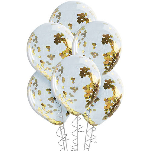 Ginger Ray Gold Confetti Balloons 5ct, 12in Image #2