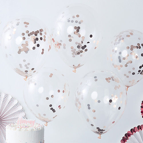 Ginger Ray Rose Gold Confetti Balloons 5ct, 12in Image #1
