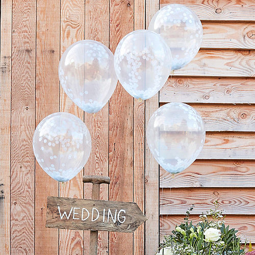 Ginger Ray White Confetti Balloons 5ct, 12in Image #1