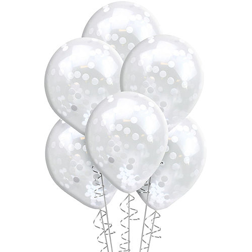 Ginger Ray White Confetti Balloons 5ct, 12in Image #2