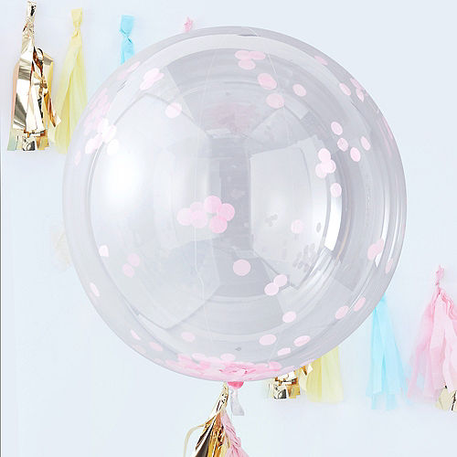 Ginger Ray Giant Pink Confetti Balloons 3ct, 36in Image #1
