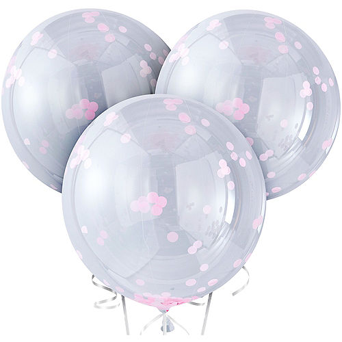 Ginger Ray Giant Pink Confetti Balloons 3ct, 36in Image #2
