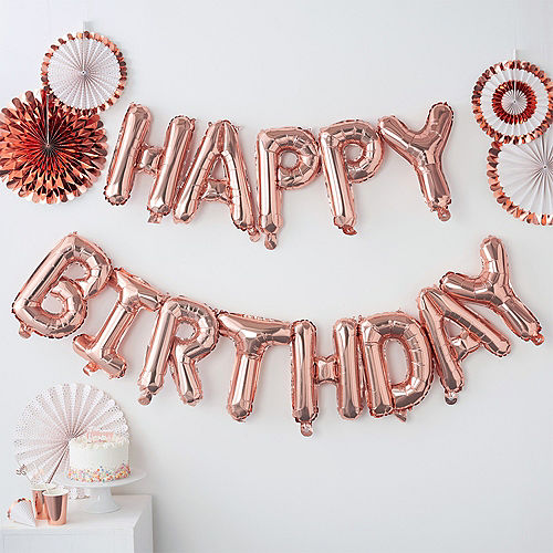 Air-Filled Ginger Ray Rose Gold Happy Birthday Letter Balloon Banners 2ct Image #1