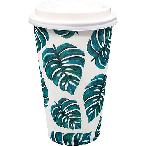 Palm Leaf Coffee Cups with Lids 8ct Image #1