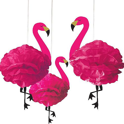 Flamingo Tissue Pom Poms 3ct Image #1