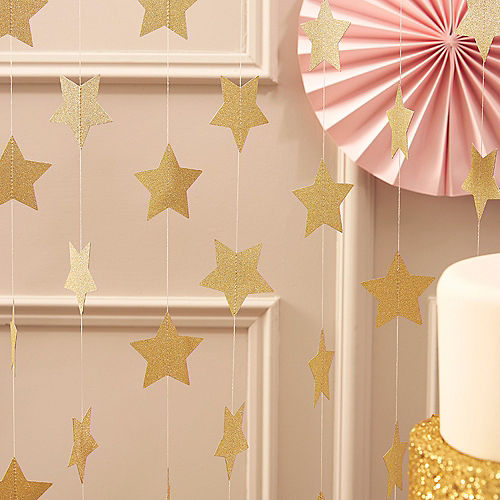 Ginger Ray Pastel Perfection Glitter Gold Star Garland Image #1