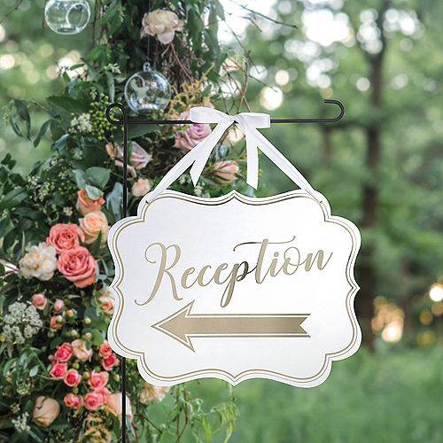 White & Gold Wedding Reception Scroll Sign Image #1