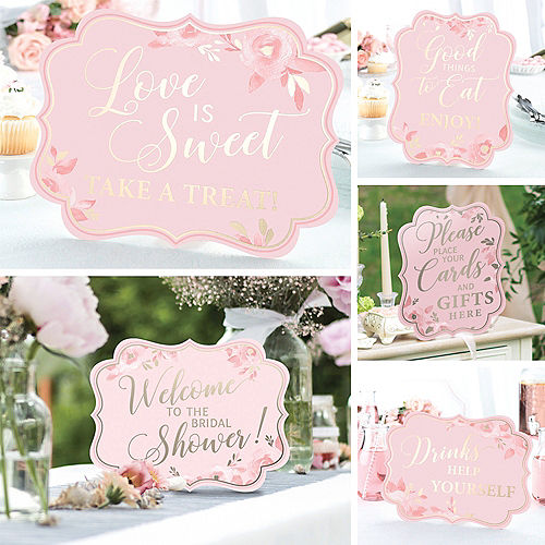 Pink & Gold Wedding Scroll Signs 5ct Image #1