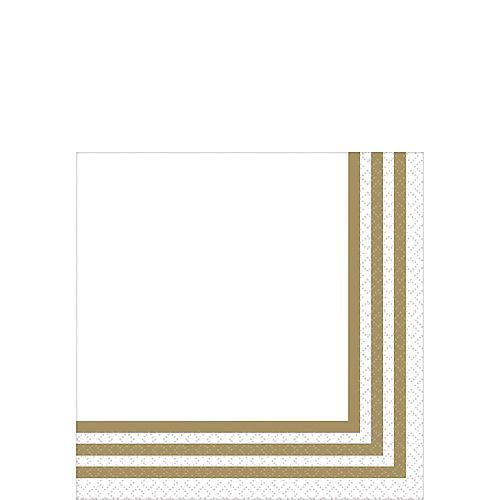 Gold Striped Premium Beverage Napkins 16ct Image #1