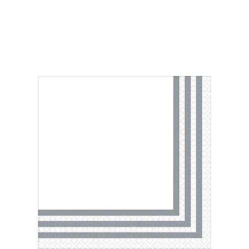 Silver Striped Premium Beverage Napkins 16ct Image #1