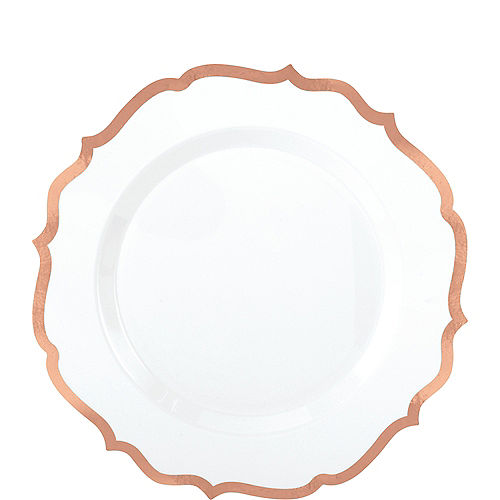 White Rose Gold-Trimmed Ornate Premium Plastic Dessert Plates 20ct Image #1