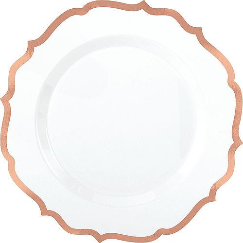 White Rose Gold-Trimmed Ornate Premium Plastic Dinner Plates 10ct Image #1