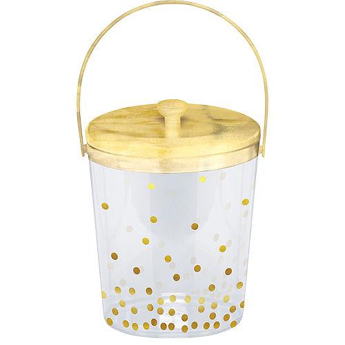 Metallic Gold Polka Dot Ice Bucket with Tongs Image #1