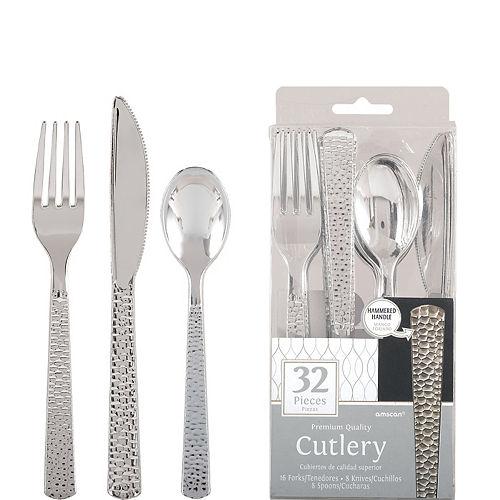 Silver Premium Plastic Hammered Cutlery Set 32ct Image #1