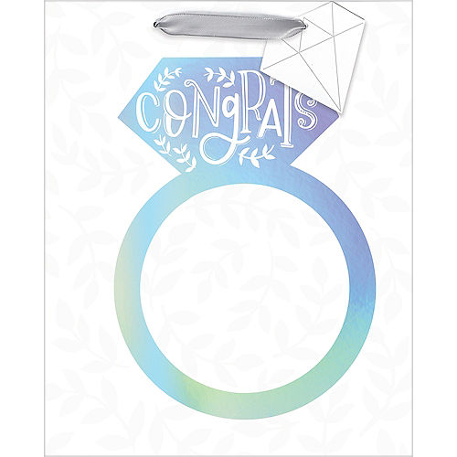 Medium Paper Iridescent Engagement Ring Gift Bag Image #2