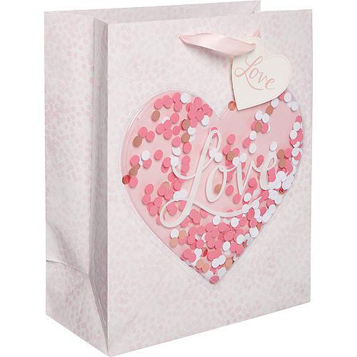 Medium Glossy Confetti Shake Heart Gift Bag Image #1