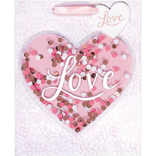 Medium Glossy Confetti Shake Heart Gift Bag Image #2