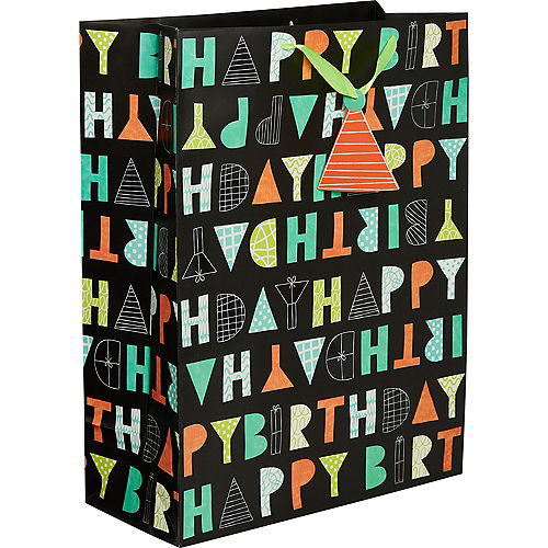 Large Paper Patterned Letter Birthday Gift Bag Image #1