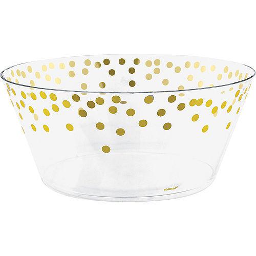 Metallic Gold Polka Dots Plastic Serving Bowl Image #1
