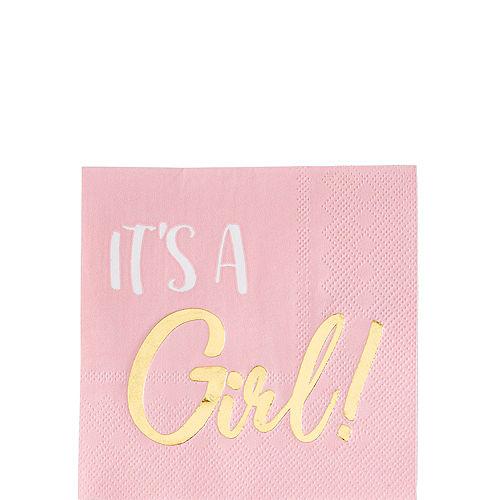 Metallic Gold & Pink It's a Girl Beverage Napkins 16ct Image #1