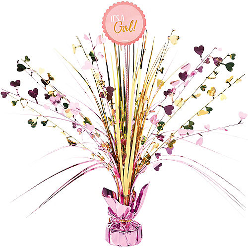 Metallic Gold and Pink It's a Girl Spray Centerpiece Image #1