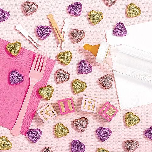 Gold & Pink Glitter Heart Table Scatters 40ct Image #1