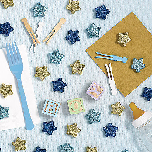Blue & Gold Glitter Star Table Scatters 32ct Image #1