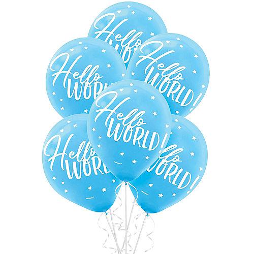 Blue Hello World Balloons 15ct Image #1