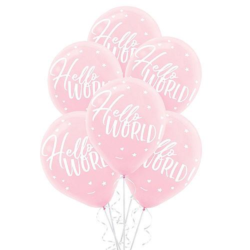 Pink Hello World Balloons 15ct Image #1