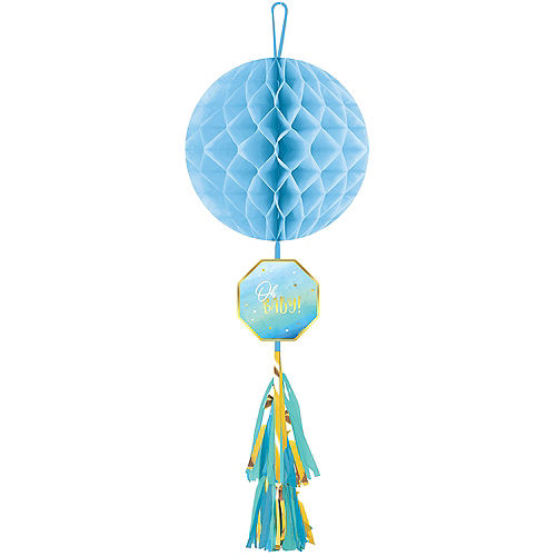 Blue It's a Boy Honeycomb Ball Decoration with Tail Image #1