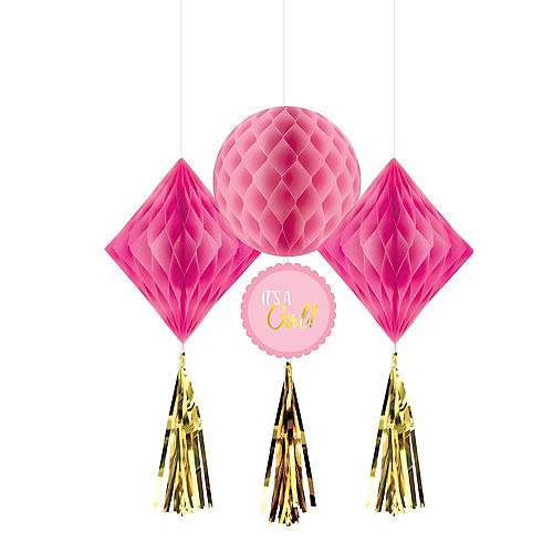 Metallic Gold & Pink It's a Girl Honeycomb Decorations 3ct Image #1