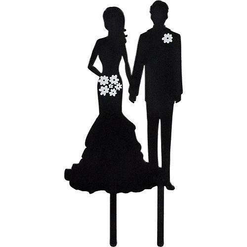 Bride & Groom Silhouette Cake Topper Image #1