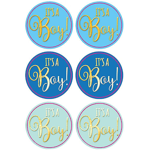 Blue It's A Boy Baby Shower Sticker Seals 1 Sheet Image #1