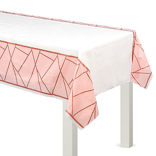 Blush & Rose Gold Plastic Table Cover Image #1