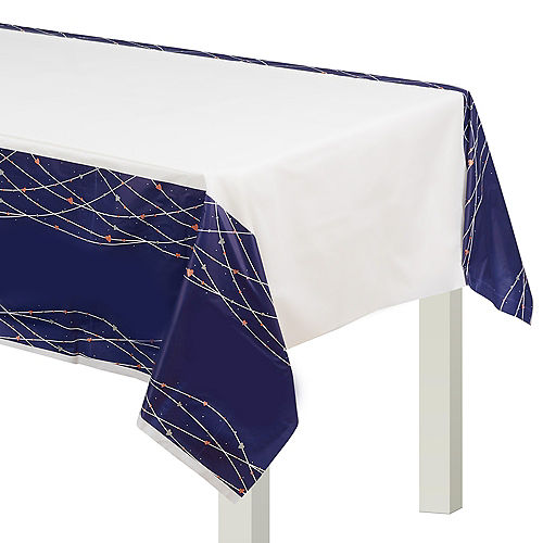 Navy Love Plastic Table Cover Image #1