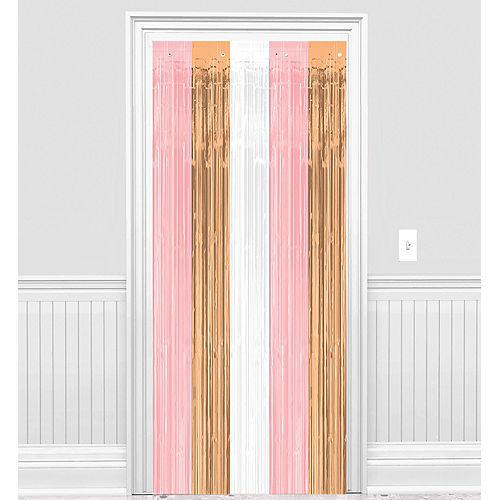 Metallic Rose Gold & Pink Fringe Doorway Curtain Image #1