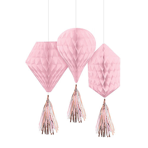 Metallic Rose Gold & Pink Honeycomb Decorations with Tails 3ct Image #1
