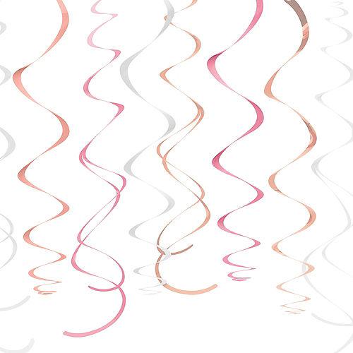 Metallic Rose Gold & Pink Swirl Decorations 12ct Image #1