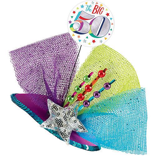 Clip-On Multicolor 50th Birthday Fascinator Hat Image #1