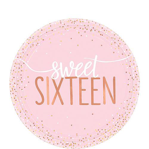 Metallic Rose Gold & Pink Sweet 16 Dessert Plates 8ct Image #1
