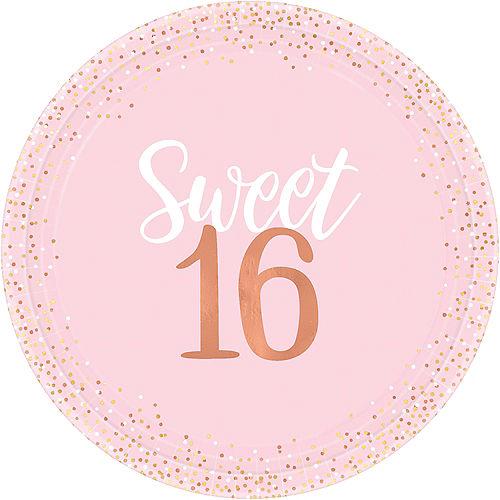 Metallic Rose Gold & Pink Sweet 16 Dinner Plates 8ct Image #1