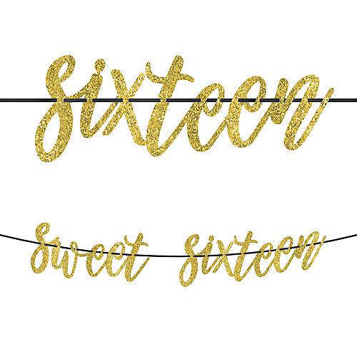 Glitter Gold Sweet 16 Birthday Banner Image #1
