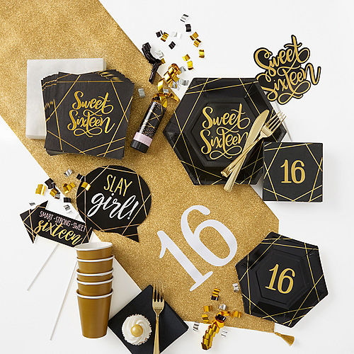 Glitter Gold & Pink Sweet 16 Photo Booth Kit 14pc Image #3