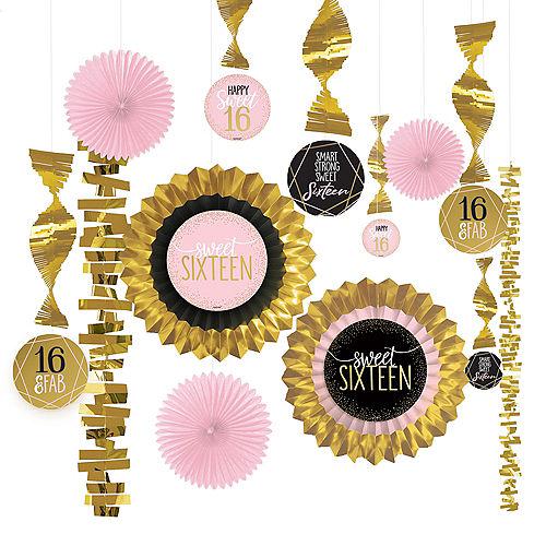 Metallic Gold & Pink Sweet 16 Decorating Kit 13pc Image #1