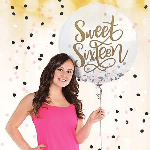Round Black, Pink & White Sweet 16 Confetti Balloon Image #1