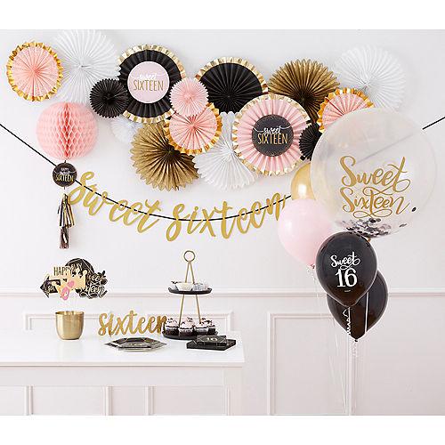 Round Black, Pink & White Sweet 16 Confetti Balloon Image #2