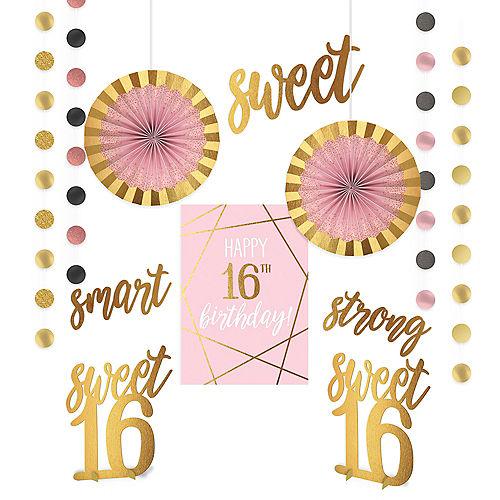Metallic Gold & Pink Sweet 16 Room Decorating Kit 12pc Image #1