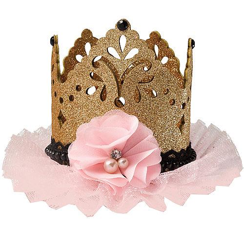 Glitter Gold & Pink Mini Crown Hair Clip Image #1